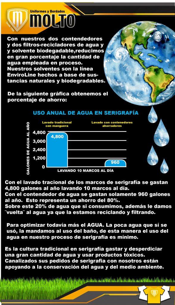 Con nuestros dos contenedores y dos filtros-recicladores de agua y solvente biodegradablem reducimis en gran porcentaje la cantidad de agua empreada en proceso. Nuestros solventes son la linea enviroline hechos a base de sustancias naturales y biodegradables.